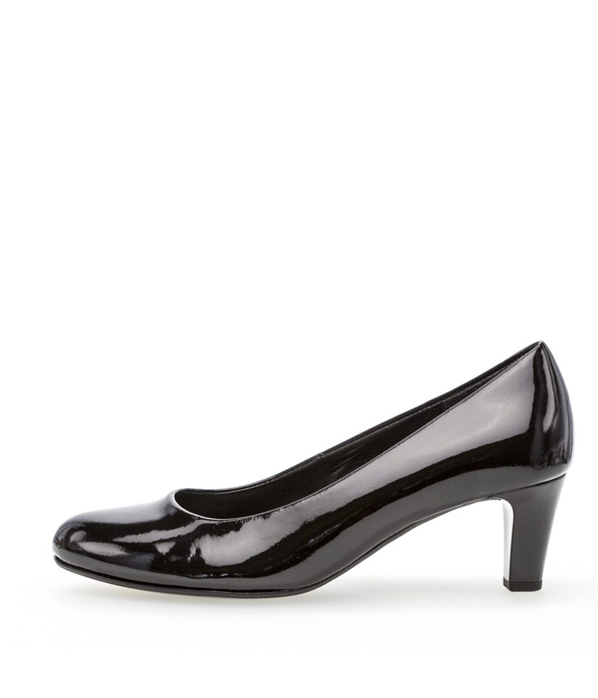 0aff5eb1a Home / Beautiful Ladies Shoes in Large Sizes / Gabor / Gabor Classic Mid  Height Black Patent Heels