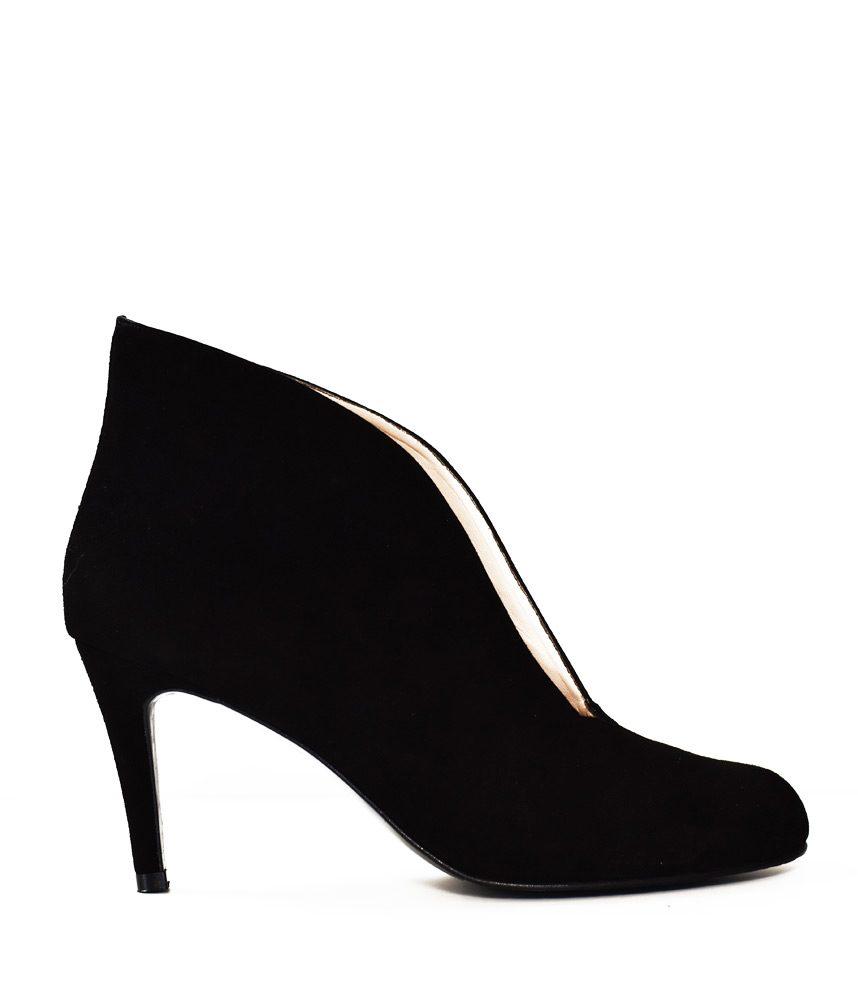 Elegant Suede V Cut Heeled Shoe Boot