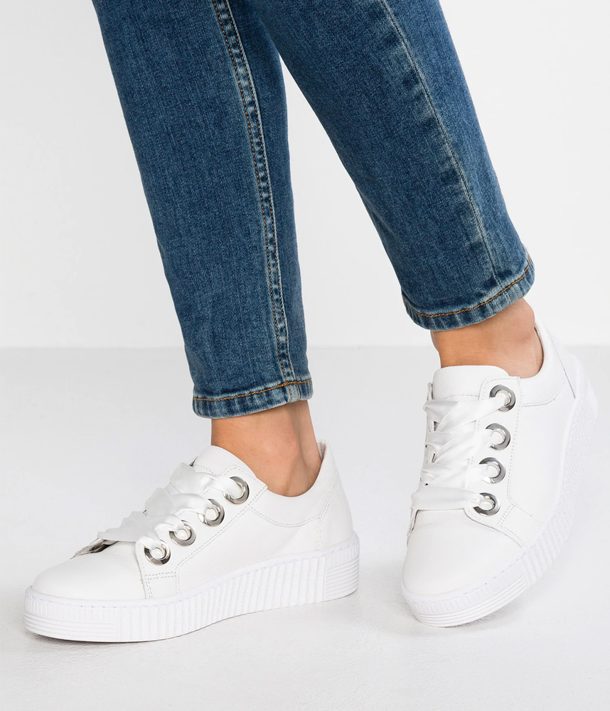 White Leather Ribbon Lace Up Sneaker