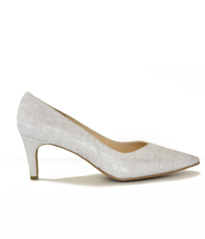 Glamourous Silver Glitter Heels