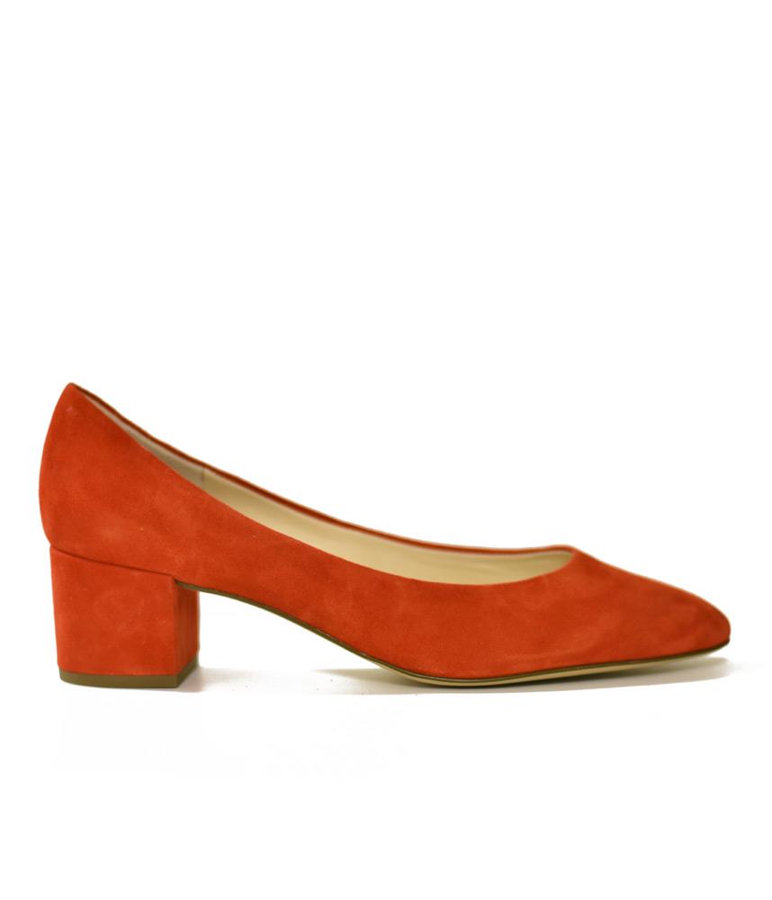 Hogl Elegant Red Suede Block Heel