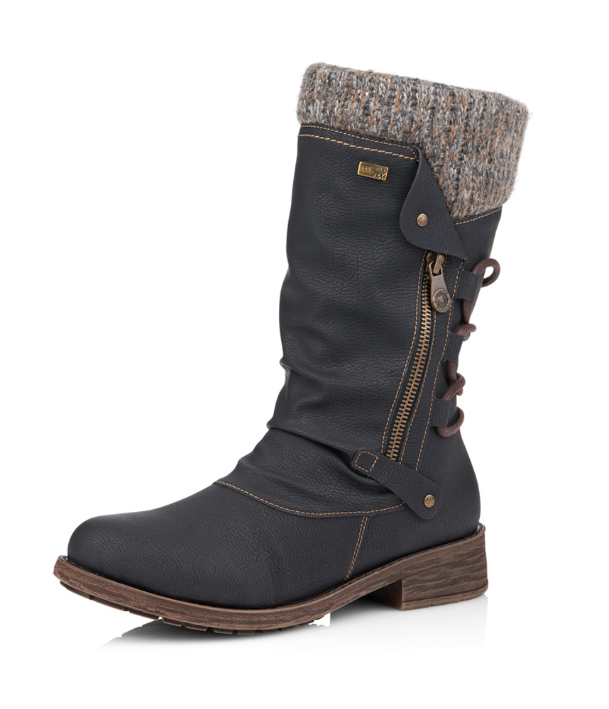nouveau sommet produits de commodité sur les images de pieds de Remonte Mid Length Black/Grey Warm Lined Water Resistant Boots