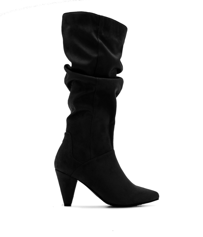 Slouch Boots in Black Suede